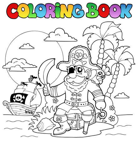 Coloring book with pirate theme 4 - vector illustration  Vector