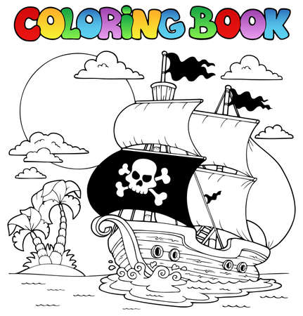 water theme: Coloring book with pirate theme 7 - vector illustration  Illustration