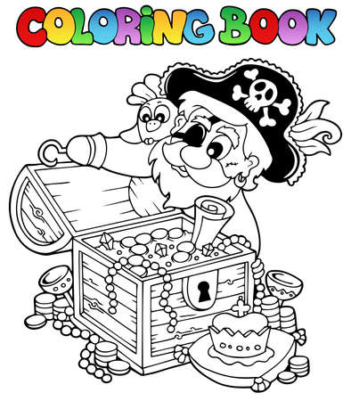 jewel case: Coloring book with pirate theme 8 - vector illustration