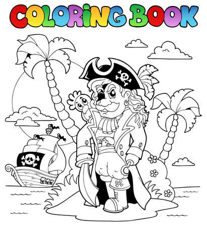Coloring book with pirate theme 9 - vector illustration  Vector