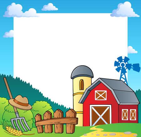barn barnyard: Farm theme frame 1 - vector illustration