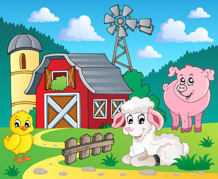 barnyard: Farm theme image 5 - vector illustration
