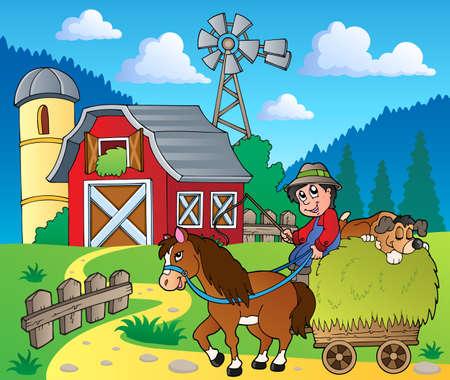 granja caricatura: Granja de la imagen Tema 6 - ilustración vectorial Vectores