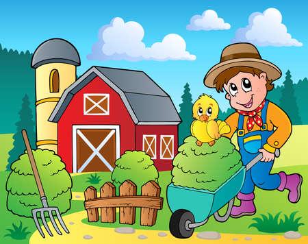 barn barnyard: Farm theme image 7 - vector illustration