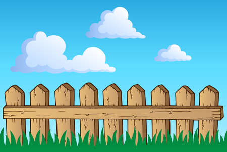 garden fence: Fence theme image 1 - vector illustration