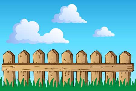 Fence theme image 1 - vector illustration