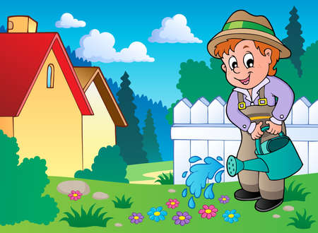 watering: Garden theme image 1 - vector illustration