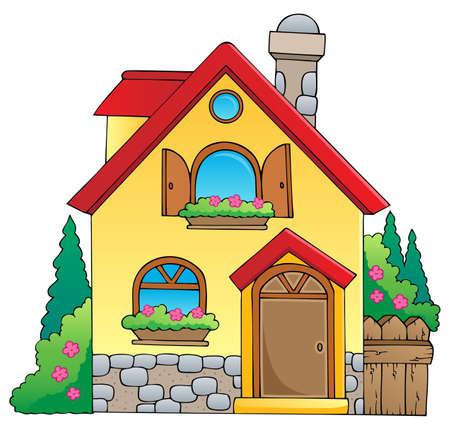 fachadas de casa: Casa de la imagen el tema 1 - ilustraci�n vectorial