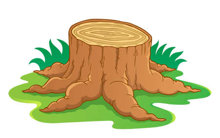 stumps: Image with tree root theme 1 - vector illustration