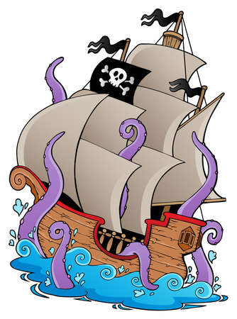 historical ship: Old pirate ship with tentacles - vector illustration