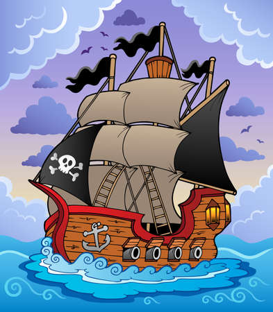 pirates: Pirate ship in stormy sea - vector illustration