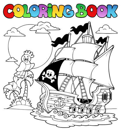 draw animal: Coloring book with pirate ship 2 - vector illustration  Illustration
