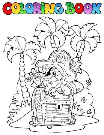 Coloring book with pirate topic 1 - vector illustration  Vector