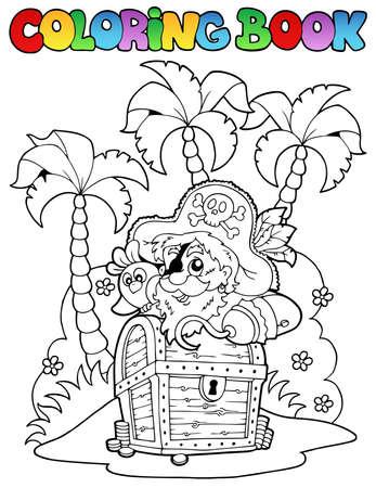 filibuster: Libro da colorare a tema pirata 1 - illustrazione vettoriale