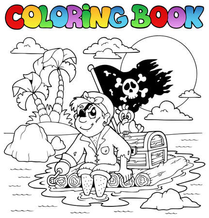 floating on water: Coloring book with pirate topic 2 - vector illustration