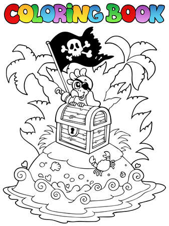 island cartoon: Coloring book with pirate topic 3 - vector illustration