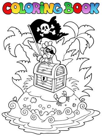 isla del tesoro: Libro para colorear con tema de piratas 3 - ilustración vectorial