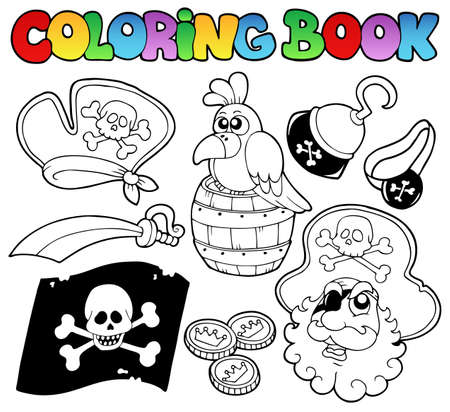 topic: Coloring book with pirate topic 4 - vector illustration  Illustration