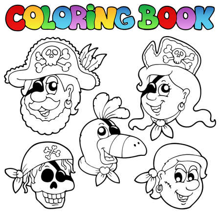 skull cap: Coloring book with pirate topic 5 - vector illustration