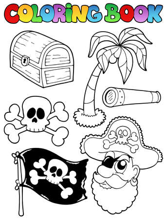 spyglass: Coloring book with pirate topic 7 - vector illustration  Illustration