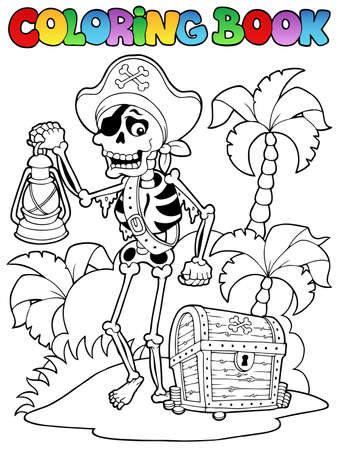 skull cap: Coloring book with pirate topic 8 - vector illustration