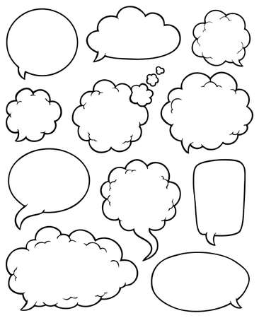 caption: Comics bubbles collection 4 - vector illustration