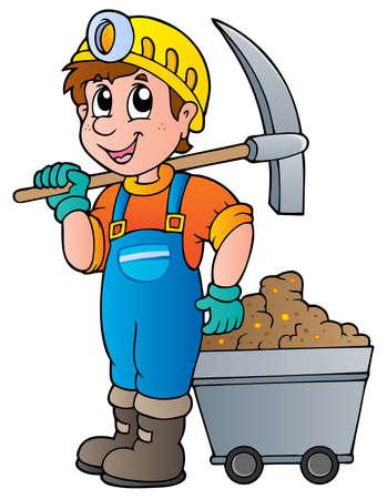 mijnbouw: Miner met pikhouweel en wagen - vector illustratie