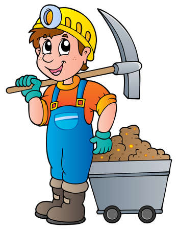 overalls: Miner with pickaxe and cart - vector illustration