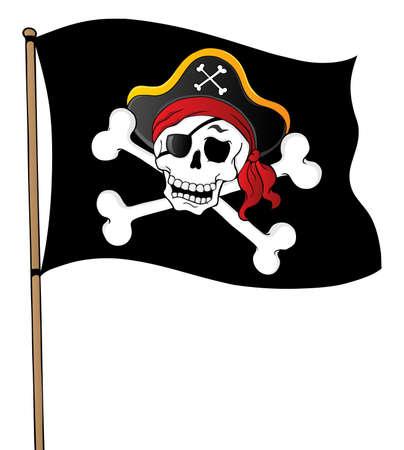 jolly roger pirate flag: Pirate banner theme 1 - vector illustration