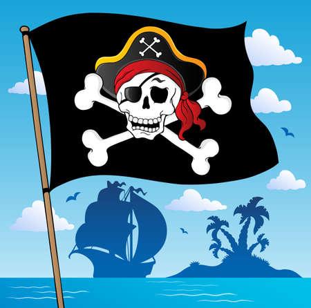 sombrero pirata: Bandera de pirata 2 tema - ilustración vectorial