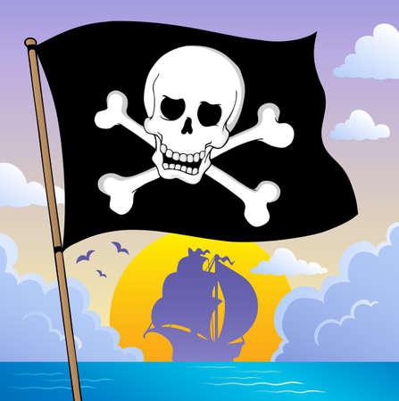 jolly roger pirate flag: Pirate banner theme 3 - vector illustration
