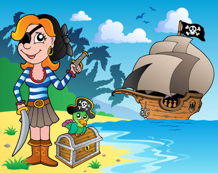 Pirate girl on coast 1 - vector illustration  Vector