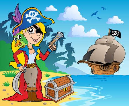 Pirate girl on coast 2 - vector illustration