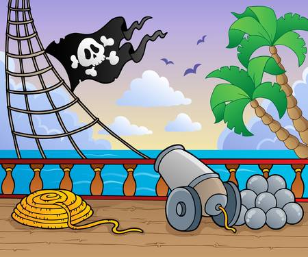 pirate banner: Pirate ship deck theme 1 - vector illustration