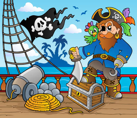 cannon: Pirate ship deck theme 2 - vector illustration