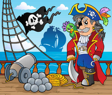 cartoon parrot: Pirate ship deck theme 3 - vector illustration