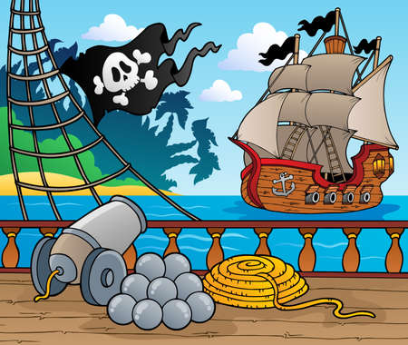 pirate cartoon: Pirate ship deck theme 4 - vector illustration
