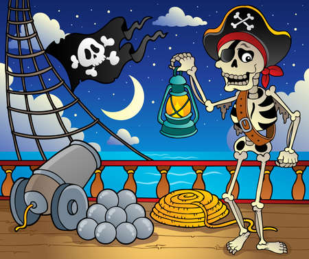 a cannon: Pirate ship deck theme 6 - vector illustration  Illustration