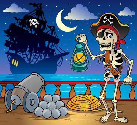 crane pirate: Le th�me des pirates le pont du navire 7 - illustration vectorielle Illustration