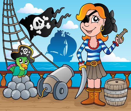 pirate girl: Pirate ship deck theme 8 - vector illustration  Illustration