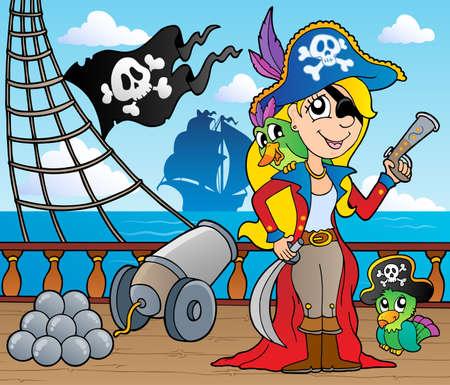 pirata mujer: Cubierta de barco pirata Tema 9 - ilustración vectorial