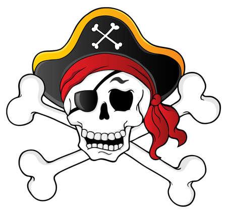 crane pirate: Th�me du cr�ne Pirate 1 - illustration vectorielle Illustration