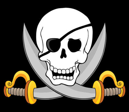 Pirate skull theme 3 - vector illustration  Vector