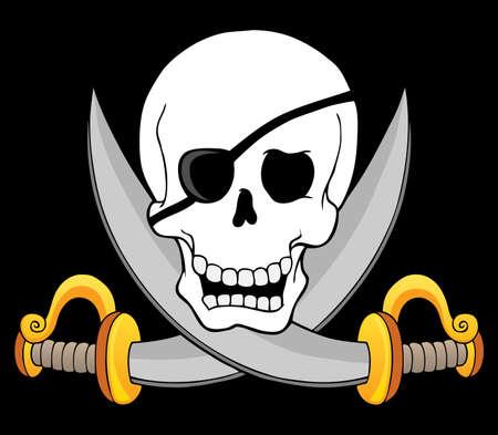 dangerous weapons: Pirate skull theme 3 - vector illustration