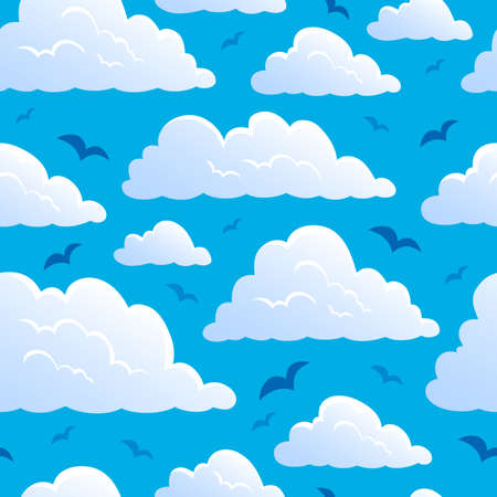 windy day: Seamless background with clouds 7 - vector illustration