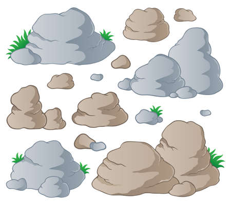 Various stones collection 1 - vector illustration  Vector