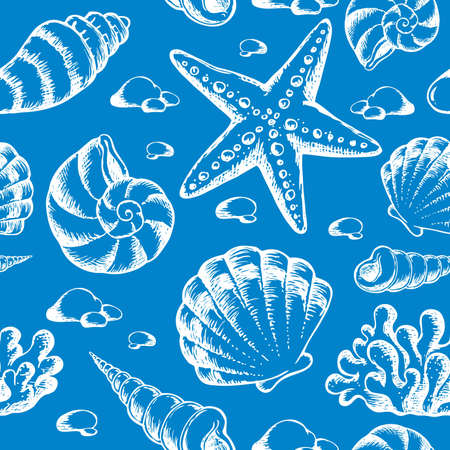 marine environment: Beach theme seamless background