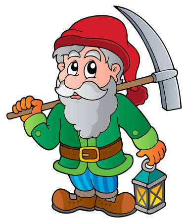 mine: Cartoon dwarf miner  Illustration