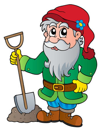 mythological character: Cartoon garden dwarf  Illustration
