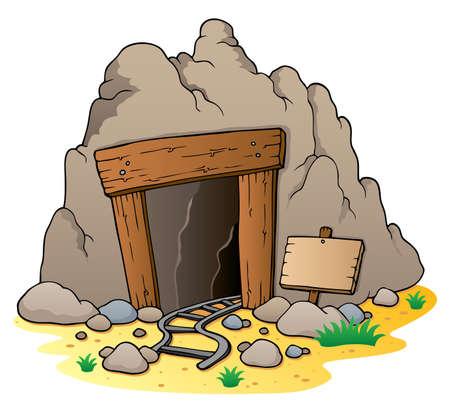 cueva: Cartoon entrada de la mina